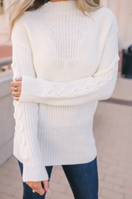 Everly Mock Neck Sweater - Cream