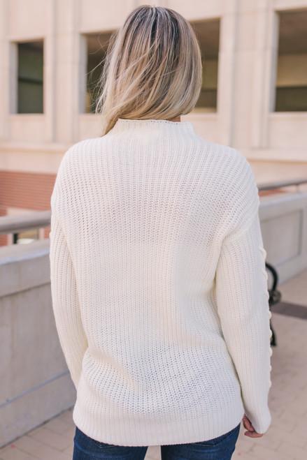 Everly Mock Neck Sweater - Cream  - FINAL SALE