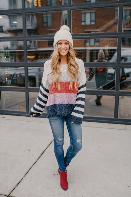 Striped Sleeve Colorblock Popcorn Sweater - Navy Multi