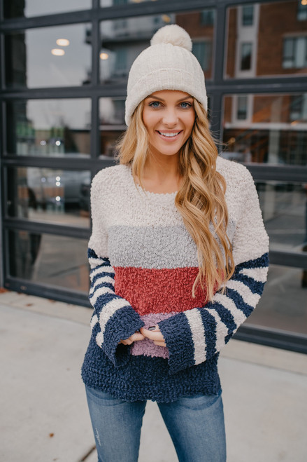 Striped Sleeve Colorblock Popcorn Sweater - Navy Multi
