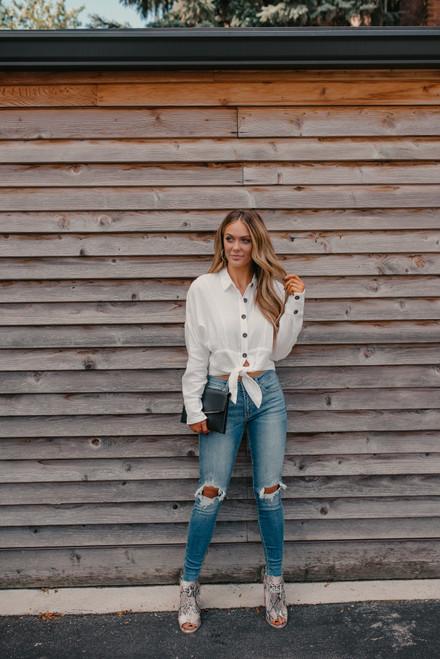 Button Down Knot Shirt - White