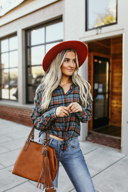 Button Down Plaid Knot Shirt - Teal