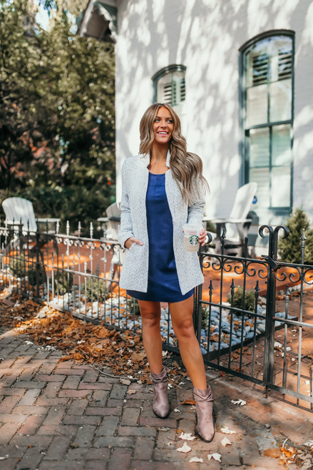 Faux Suede Shift Dress - Navy - FINAL SALE