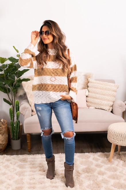 Open Knit Striped Sweater - Ivory/Mocha