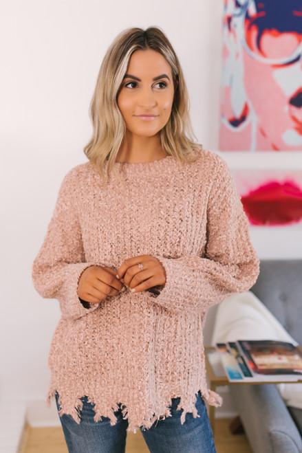 Distressed Hem Popcorn Sweater - Blush