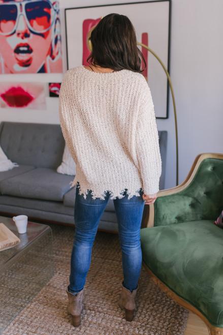 Distressed Hem Popcorn Sweater - Cream