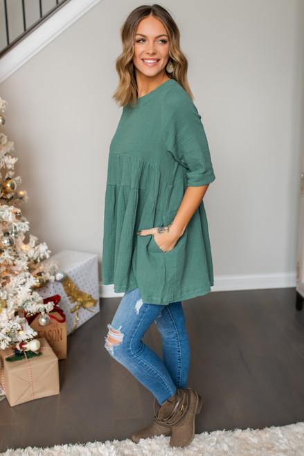 Short Sleeve Tiered Tunic - Dusty Green