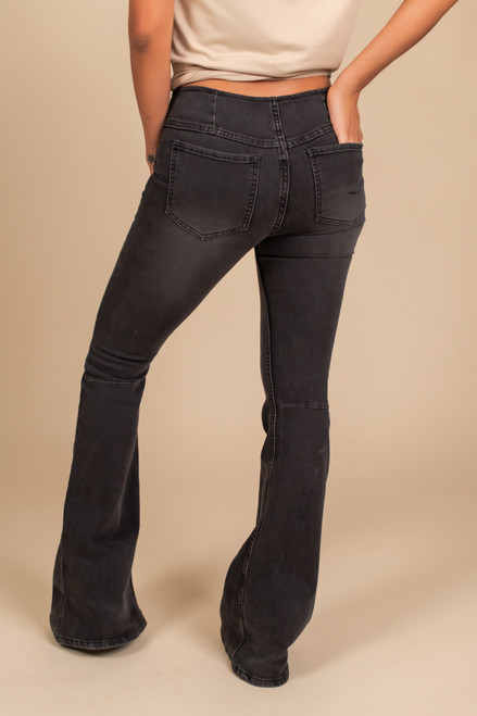 Pull On Flare Jeans - Black