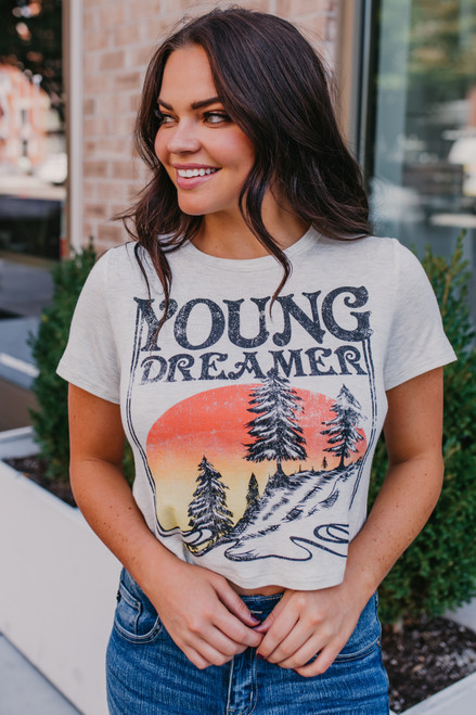 Young Dreamer Crop Tee - Oatmeal  - FINAL SALE