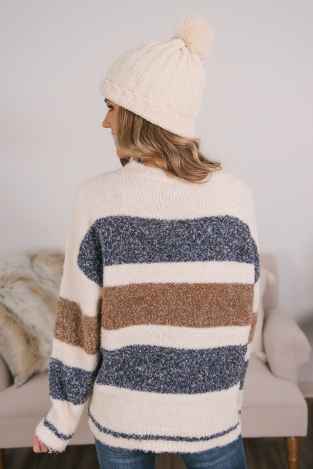 Multi Stripe Cozy Sweater - Ivory/Navy/Brown