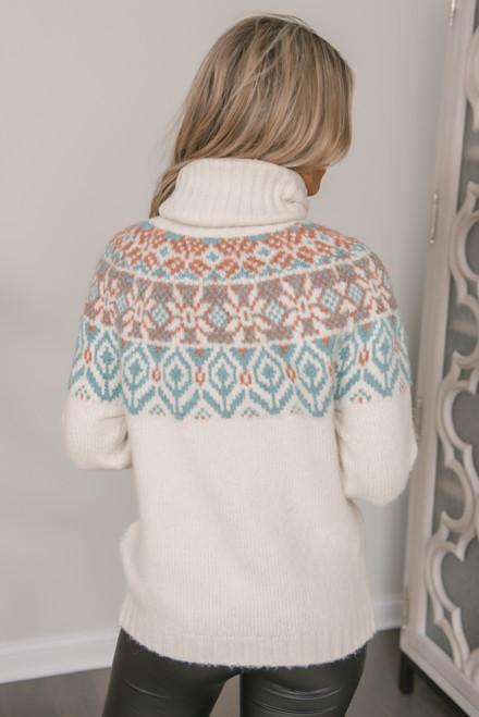 Fair Isle Turtleneck Sweater - Ivory Multi