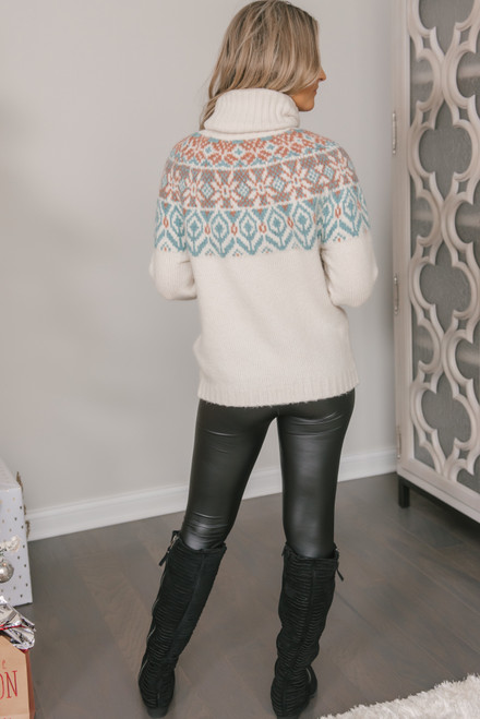 Fair Isle Turtleneck Sweater - Ivory Multi