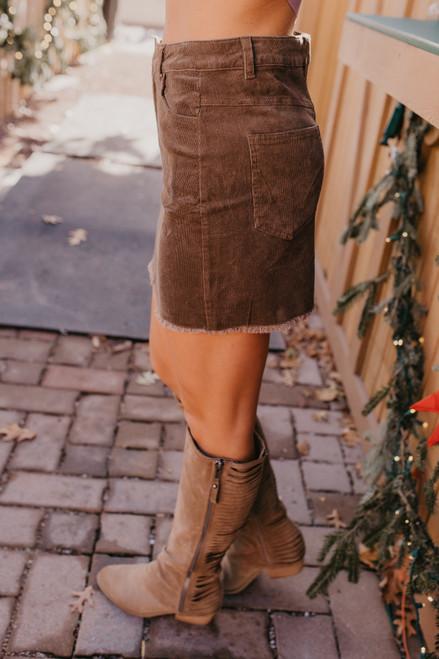 Frayed Corduroy Skirt - Brown