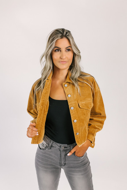 Frayed Corduroy Cropped Jacket - Camel