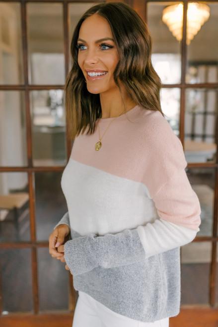 Crew Neck Colorblock Sweater - Blush/Ivory/Grey