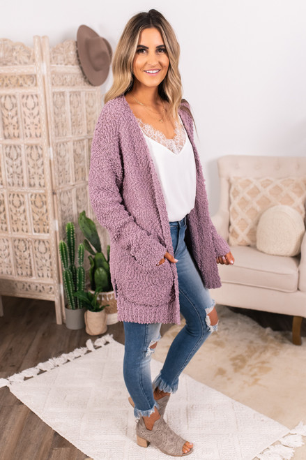 Cozy Popcorn Pocket Cardigan - Lavender