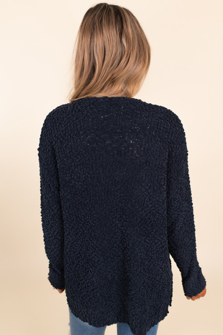Cozy Popcorn Pocket Cardigan - Navy