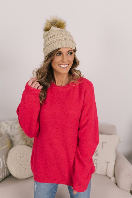 Let's Get Cozy Sweater - Red
