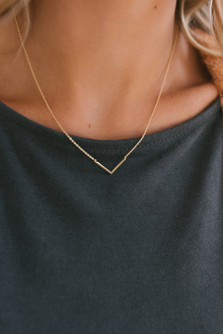 Dainty Gold Dipped Chevron Necklace - Gold