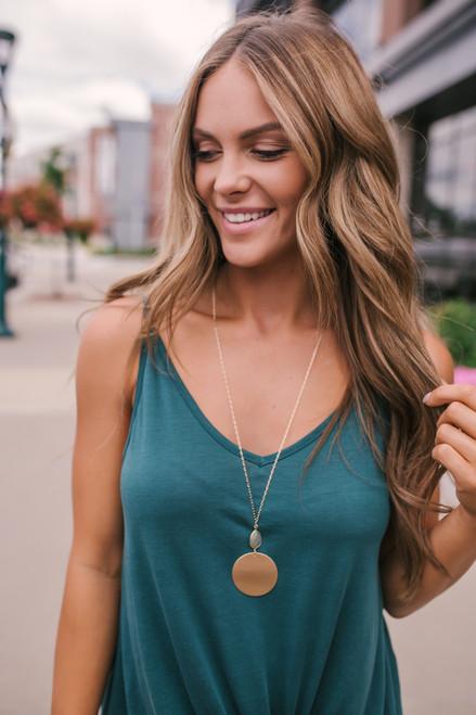 Stone Detail Metal Pendant Necklace - Gold