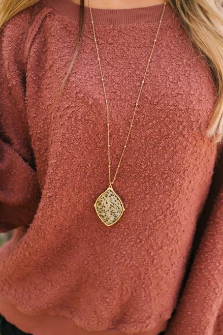 Dalmatian Stone Pendant Necklace - Gold