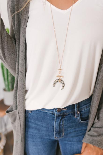 Dalmatian Crescent Necklace - Gold - FINAL SALE