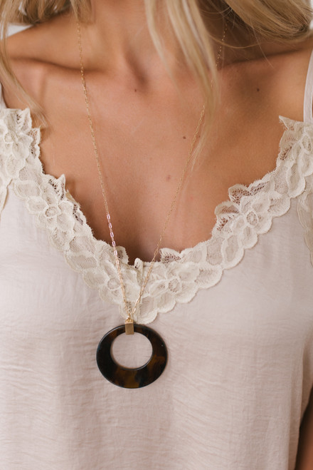 Watercolor Tortoise Pendant Necklace - Brown/Gold  - FINAL SALE