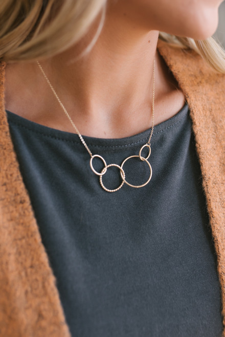 Circle Statement Necklace - Gold