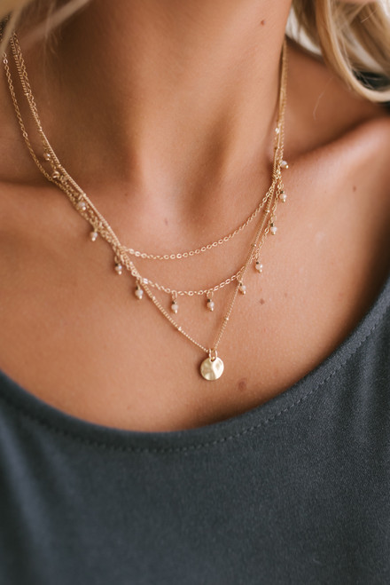 Layered Beaded Coin Necklace - Gold