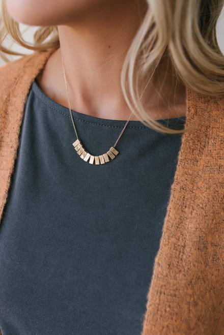 Metal Beaded Necklace - Gold