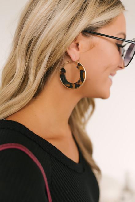 Tortoise Hoop Earrings - Brown