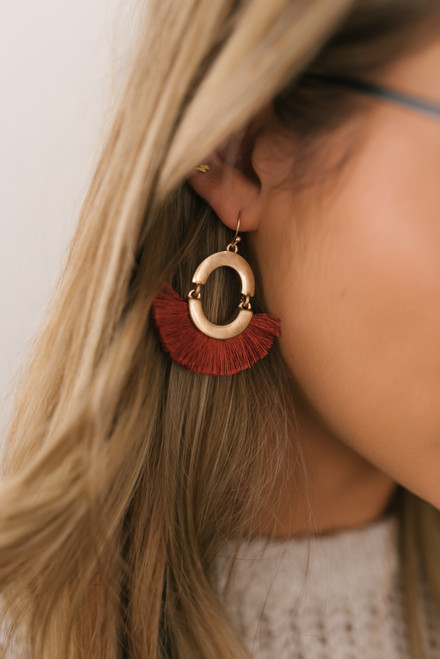 Tassel Statement Earrings - Rust/Gold