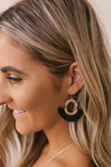 Tassel Statement Earrings - Black/Gold