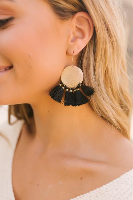 Textured Disc Tassel Earrings - Gold/Black