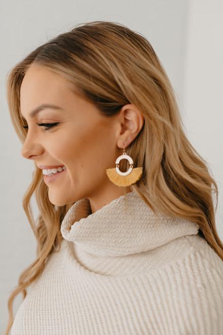 Tassel Statement Earrings - Mustard/Gold