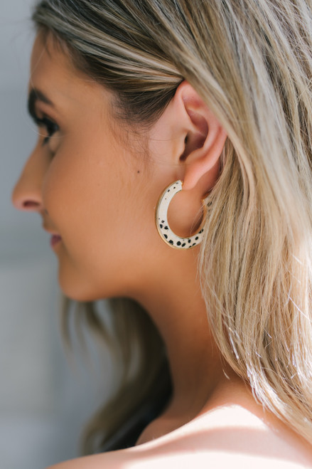 Cheetah Hoop Earrings - Natural