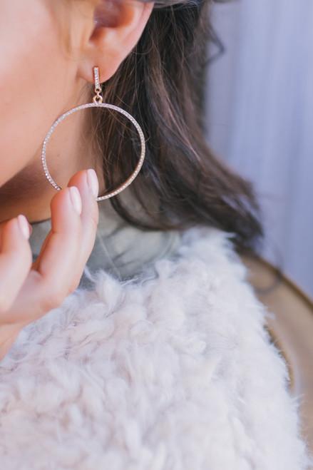 Rhinestone Statement Hoop Earrings - Gold