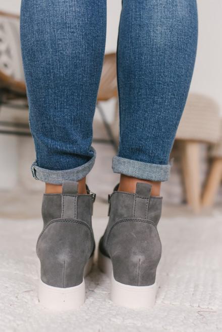 Steve Madden Wedgie Sneakers - Grey Suede