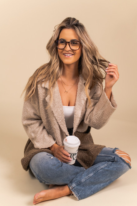Double Breasted Colorblock Cardigan - Beige/Brown