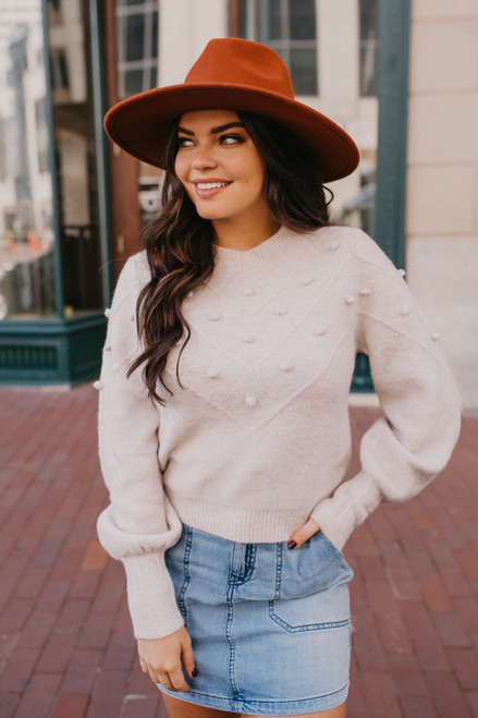 Pom Pom Chevron Sweater - Light Lilac