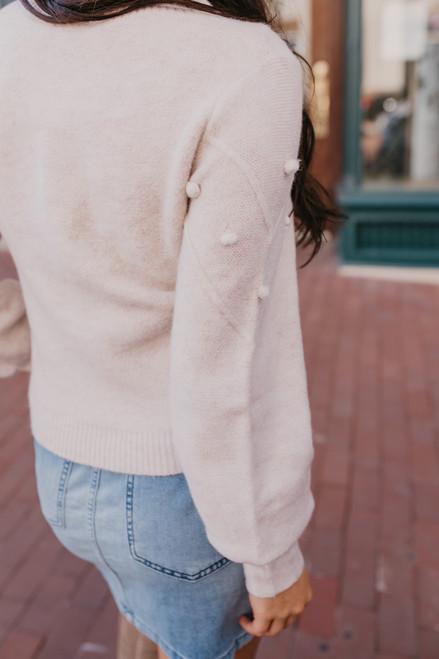 Pom Pom Chevron Sweater - Light Lilac - FINAL SALE