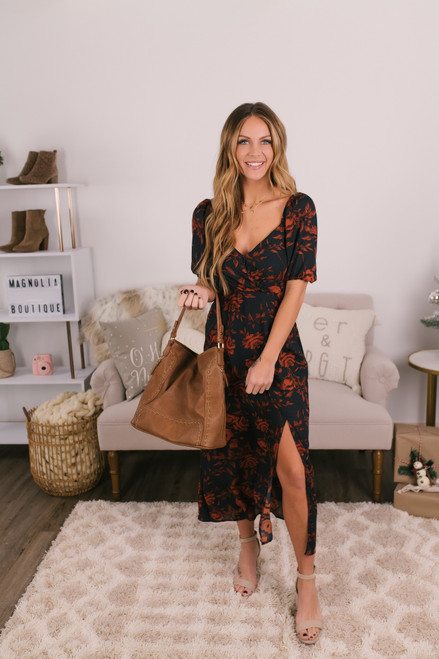 Sweetheart Slit Floral Maxi - Navy/Rust