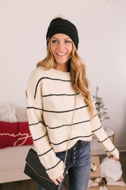 Crew Neck Striped Sweater - Cream/Black