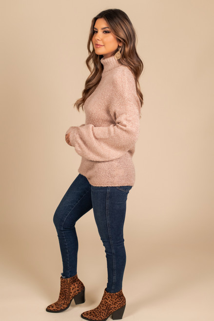 Turtleneck Metallic Sweater - Rose Gold
