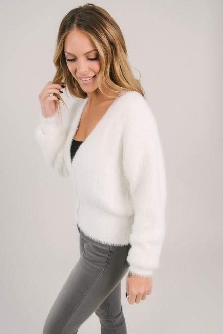 Button Down Fuzzy Cardigan - White