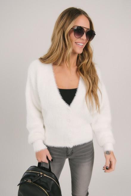 Button Down Fuzzy Cardigan - White Button Down Fuzzy Cardigan - White