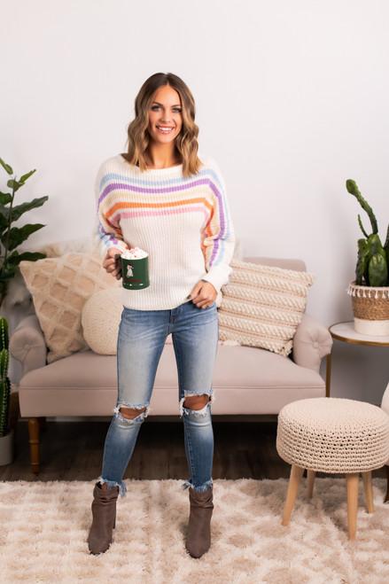Multi Stripe Rainbow Sweater - White