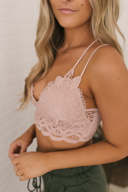 Bardot Scalloped Lace Bralette - Twig - FINAL SALE