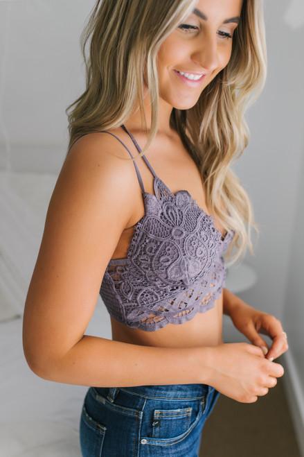 Bardot Scalloped Lace Bralette - Midnight Purple