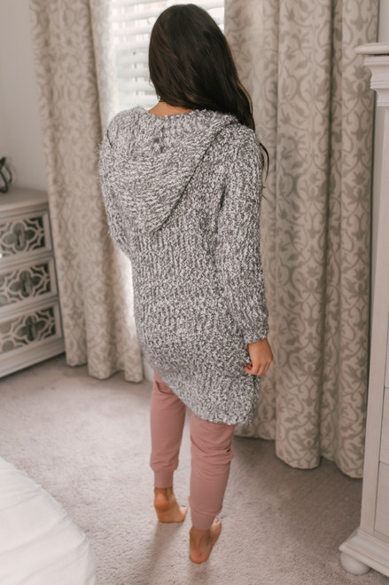 Hooded Two Tone Cozy Cardigan - Grey/White